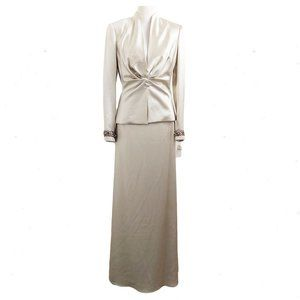 KAY UNGER NWT Champagne Skirt Suit Sz 8